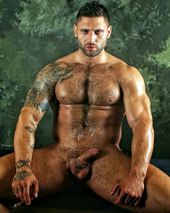 Hairy muscle hunk naked
